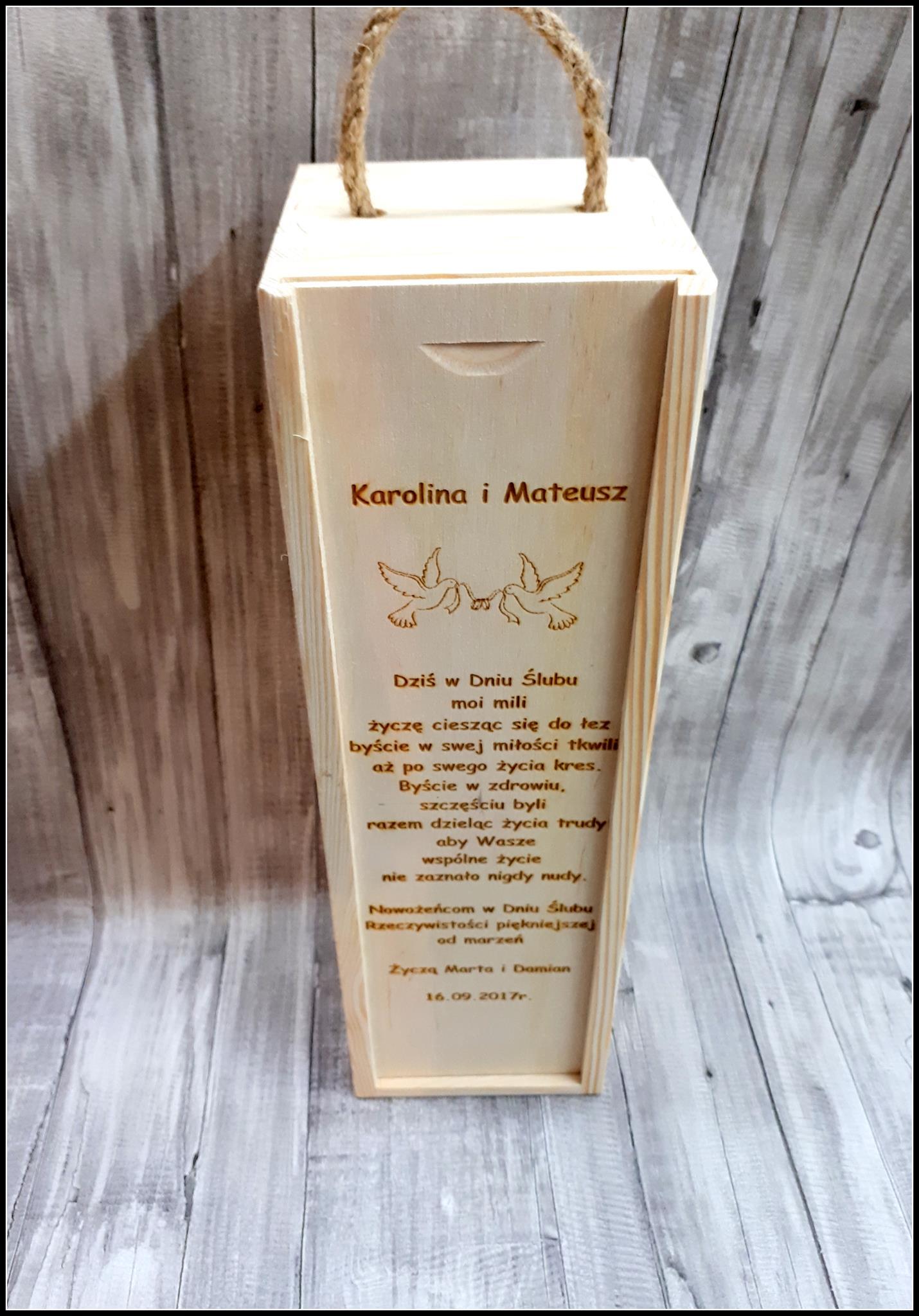 Poważne Skrzynka drewniana pudełko na alkohol na wino ślub wesele grawer RC02