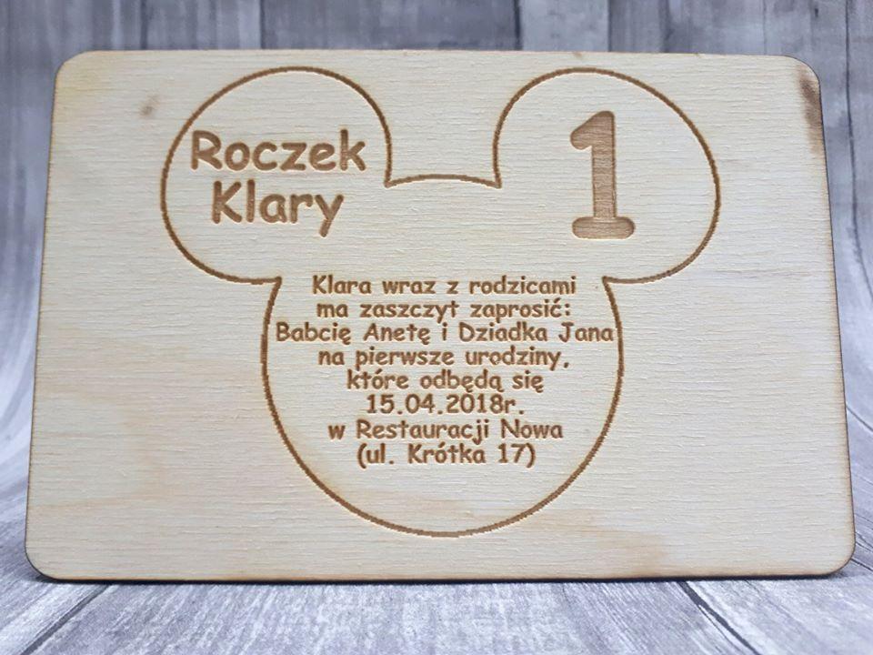 Zaproszenie Na ślub Komunię Roczek Drewniane Grawer Wzór 4 Babi